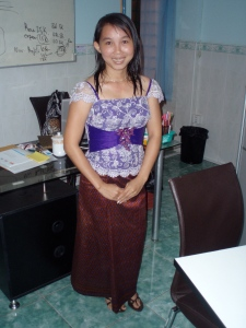 Chheng dressed up for a Khmer wedding