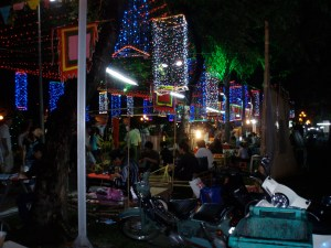 bustling night life in HCMC